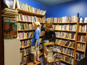 Shopping at our favorite used book store.