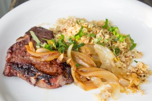 Grilled lamb with medjara rice