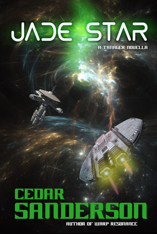 Yep! This one's mine. It will be coming out later in the month, and you'll see it again as a link. But the cover for this is a fractal starfield and nebula, bought elements of the spaceship and station. I painted the engine flames, the green element under the title, and that was it... So clean and pretty. For my next project, I'll be working on creating my own spaceships so I'm not stuck buying and altering them.