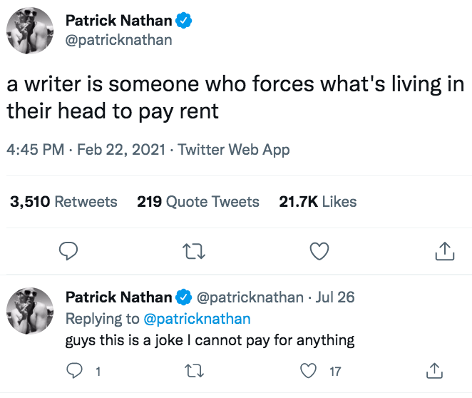 Patrick Nathan tweet